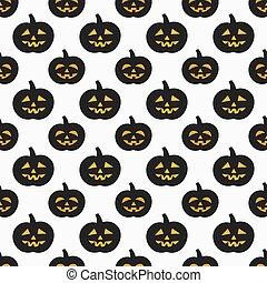 Halloween Jack-o-lantern seamless pattern - Halloween...