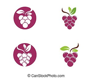 Bunch of wine grapes with leaf icon for food apps and...
