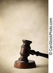 Wooden Gavel on Block with Parchment Style Background - A...