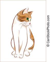 mano, dibujado, retrato, jengibre, atigrado, gato