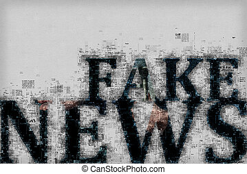 Fake news concept, graphic illustration with letters and...