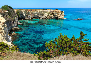 Torre Sant Andrea, Italy - Picturesque seascape with cliffs...