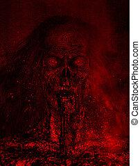 Zombie - 3d illustration of Bloody zombie woman portrait...