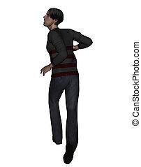 Man running away - 3d rendering of a man running away from...