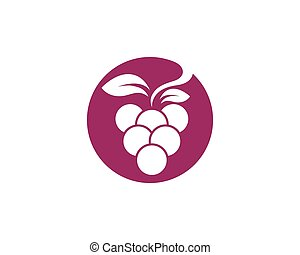 Print - Bunch of wine grapes with leaf icon for food apps...