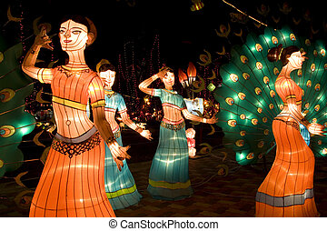 Dancing Ladies Lanterns - Image of lighted up lanterns...