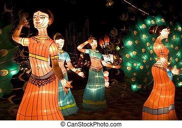 Dancing Ladies Lanterns - Image of lighted up lanterns...