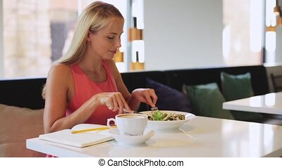 woman or reviewer eating lunch at restaurant - food, people...