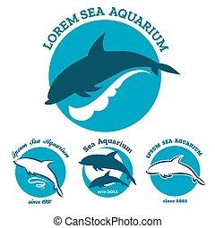 Sea aquarium emblem set - Set of sea aquarium logo sign...