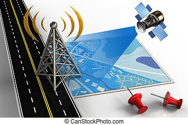 3d antenna - 3d illustration of blue map with antenna and...
