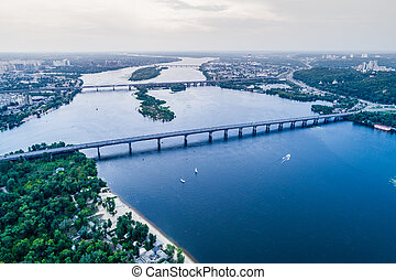 Panoramic view of Kiev city with the Dnieper River in the middle. Aerial view