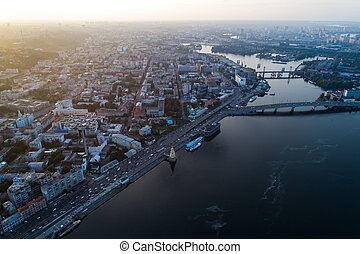 Panoramic aerial view of the old part of the city - Podol...