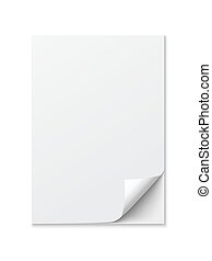 Close up of a paper with curled edge on white background -...