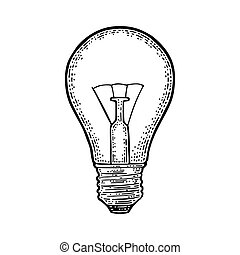 Glowing light incandescent bulb. Vector vintage engraving on...