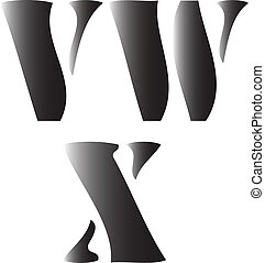 v w x alphabetical vector illustration isolated