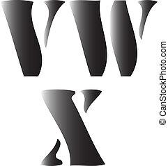 v w x alphabetical