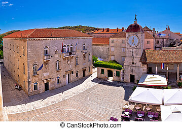 UNESCO Town of Trogir main square panoramic view in...