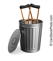 crutches in garbage basket on white background. Isolated 3D...