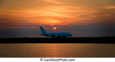 Sunset at Sydney Airport. - Commercial Jet Aircraft, at...