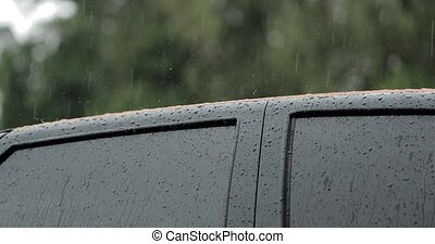 rain on the roof of the car