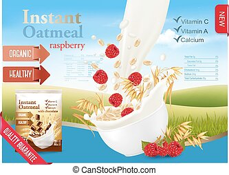 Instant oatmeal with strawberry advert concept. Milk flowing...