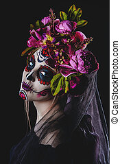 scary muertos holiday - Portrait of a girl with sugar skull...