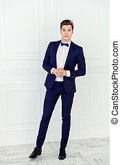 dandy young man - Full length portrait of a handsome young...