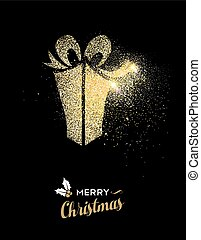 Merry Christmas gold glitter gift box holiday card