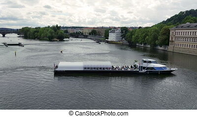 Pleasure boat on the Vltava river.