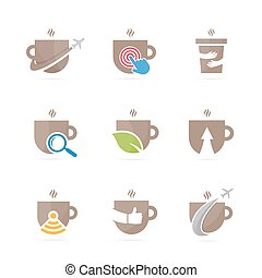 Set of coffee logo combination. Drink and tea symbol or...