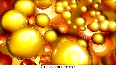 Gold balls in bronze soup
