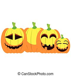 Set of jack-o-lanterns on a white background, Vector...