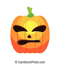 Isolated angry jack-o-lantern on a white background, Vector...