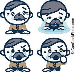 Set of senior men shedding tears - Vector illustration....