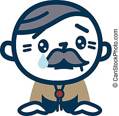 Senior men shedding tears - Vector illustration. Original...