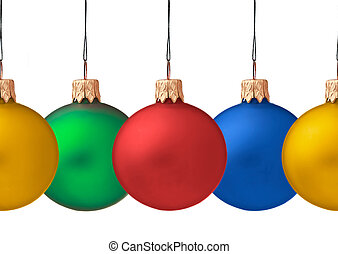 Row pf hanging Christmas baubles isolated on white...