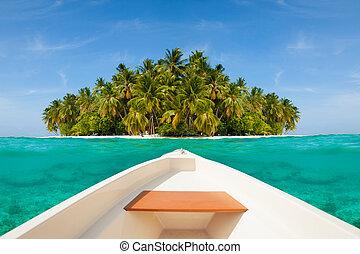 White boat sailing to uninhabited island - White boat...