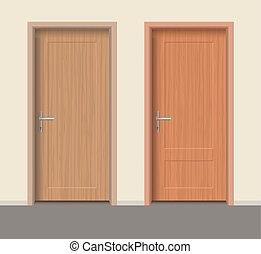 Wooden door set, Interior apartment closed door with iron...