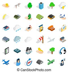 Hanger for plane icons set, isometric style - Hanger for...