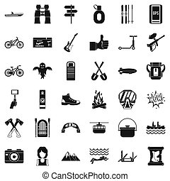 Sport adventure icons set, simple style - Sport adventure...