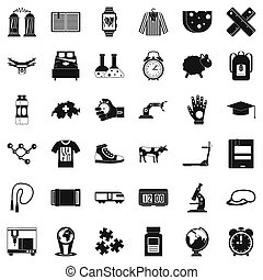 Scientific things icons set, simple style