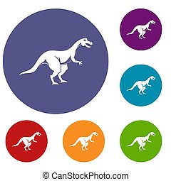 Theropod dinosaur icons set in flat circle red, blue and...