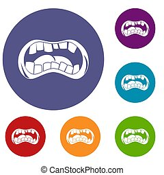 Zombie mouth icons set