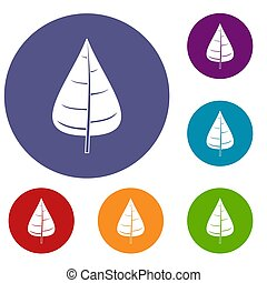 Poplar leaf icons set in flat circle red, blue and green...