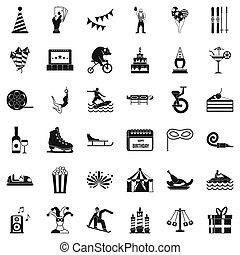 Lunapark icons set, simple style - Lunapark icons set....