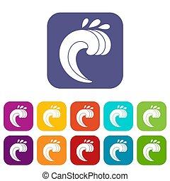 Large curling wave icons set