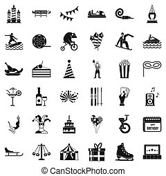 Exhibition icons set, simple style - Exhibition icons set....