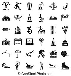 Circus icons set, simple style - Circus icons set. Simple...