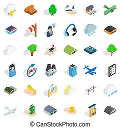 Plane terminal icons set, isometric style - Plane terminal...
