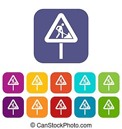 Road works sign icons set illustration in flat style in...